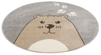 Kinderteppich »Bear«, Lüttenhütt, rund, Höhe 14 mm, Bären-Motiv