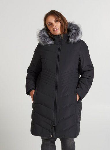 Zizzi Winterjacke Zizzi Damen Große Größen Warm Faux Kunstfellkragen Jacke
