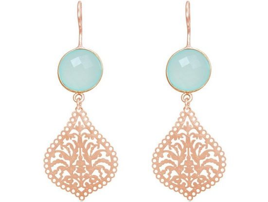 Gemshine Paar Ohrhänger »Mandala Tropfen und Chalcedon Meeresgrün«, Made in Spain