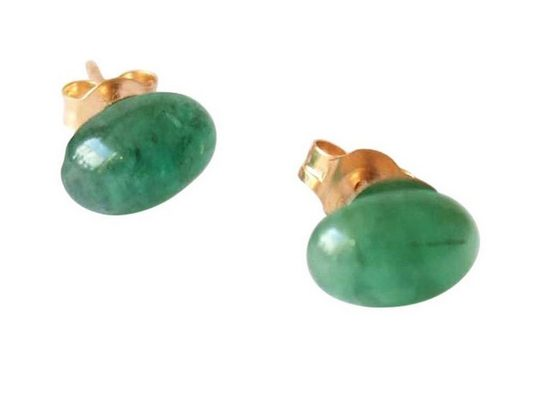 Gemshine Paar Ohrstecker »Smaragd Cabochons«, Made in Germany