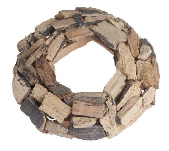 """Holz Kranz aus Holzstücken """"SINDI"""" 30 cm Durchmesser"""