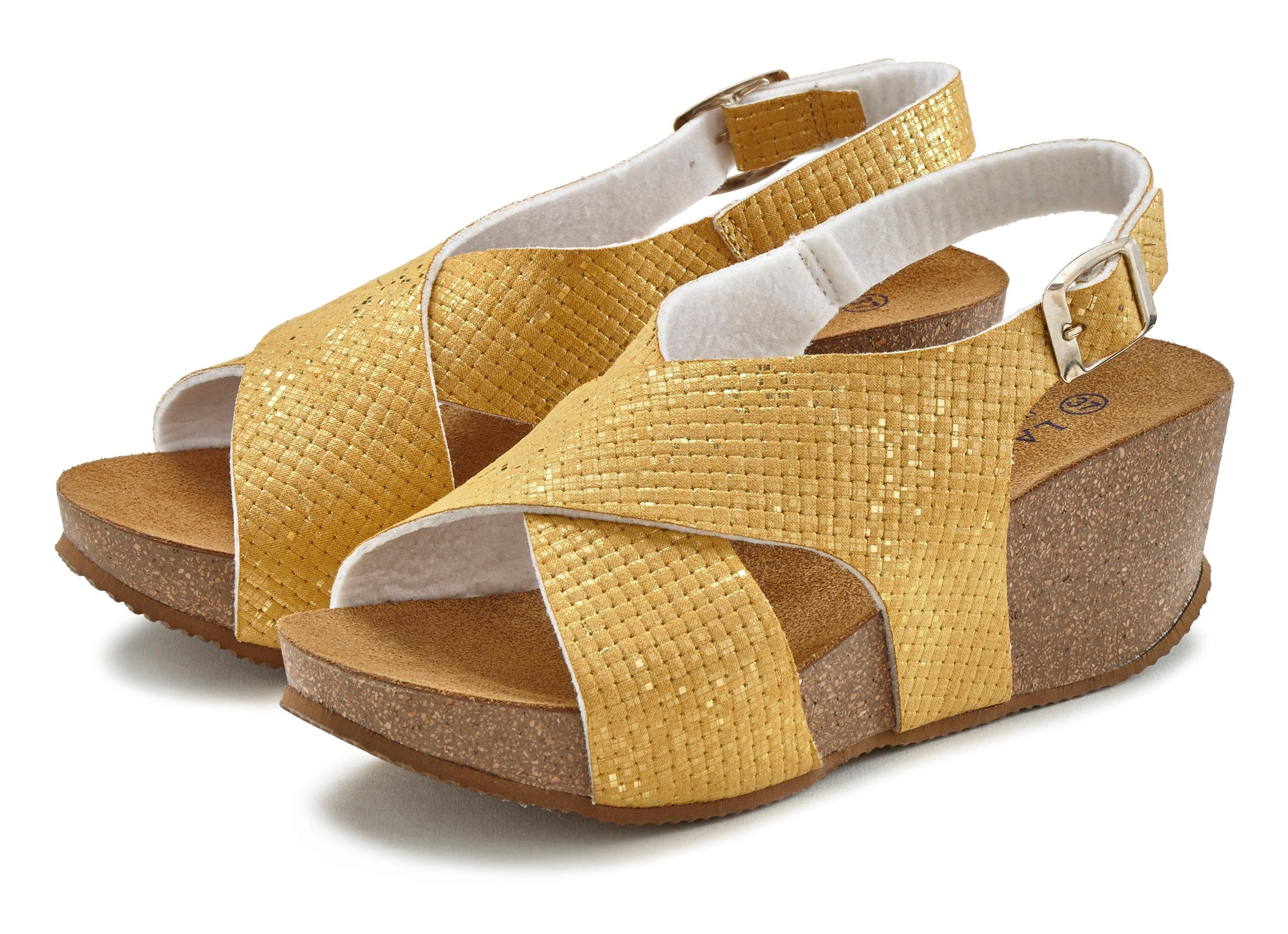 40 ARIZONA Damen Schuhe Sandaletten Sandalette Sandalen Keilabsatz Schwarz Gr