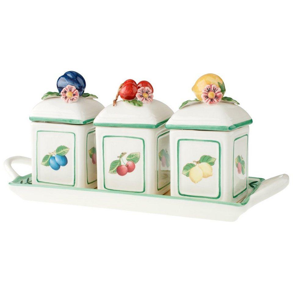 VILLEROY & BOCH Marmeladendosen-Set 3tlg. mit Table »French Garden Charm« in dekoriert