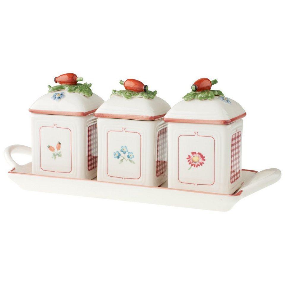 VILLEROY & BOCH Marmeladendosen-Set 3tlg. mit Table »Petite Fleur Charm« in dekoriert