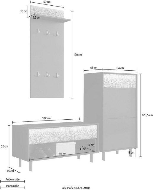 Garderoben Sets - INOSIGN Garderoben Set »Morin«, (Set, 3 tlg), mit attraktivem Snake Print  - Onlineshop OTTO