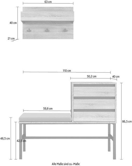 Garderoben Sets - INOSIGN Garderoben Set »Selune«, (Set, 2 tlg), aus Holzwerkstoff und Metall  - Onlineshop OTTO