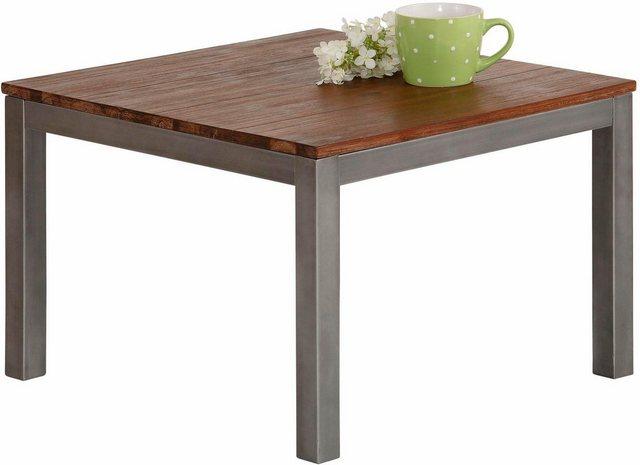 Wohnzimmertische - Home affaire Couchtisch »Kenya«, mit einem schönem Metallgestell und einer massivem Tischplatte, Breite 60 cm  - Onlineshop OTTO