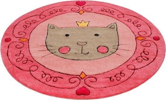 Kinderteppich »Lotti Queen«, SMART KIDS, rund, Höhe 9 mm, Katzen Prinzessin, Konturenschnitt