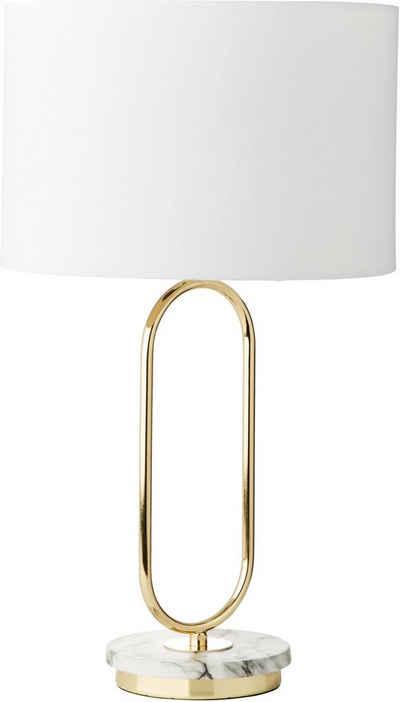 Guido Maria Kretschmer Home&Living Tischleuchte »ZERIA«, Fuß der Tischlampe in Marmoroptik, weißer Stoff-Schirm