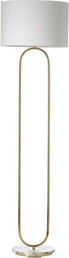 Guido Maria Kretschmer Home&Living Stehlampe »ZERIA«, Fuß der Stehleuchte in Marmor-Optik, weißer Stoff-Schirm