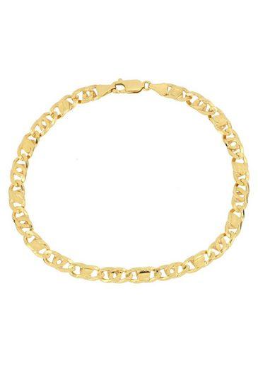 Firetti Goldarmband »Achter-Rebhuhn-Plättchenkettengliederung, 5,5 mm breit, 6-fach diamantiert, konkav«