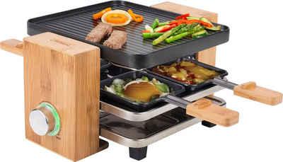 PRINCESS Raclette Pure 4 162900, 4 Raclettepfännchen, 700 W, 2m Kabellänge, mit Bambusausführung
