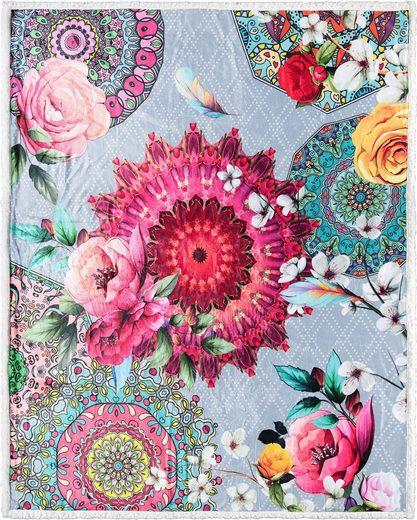 Plaid »Siara«, hip, mit Mandalas und Rosenblüten