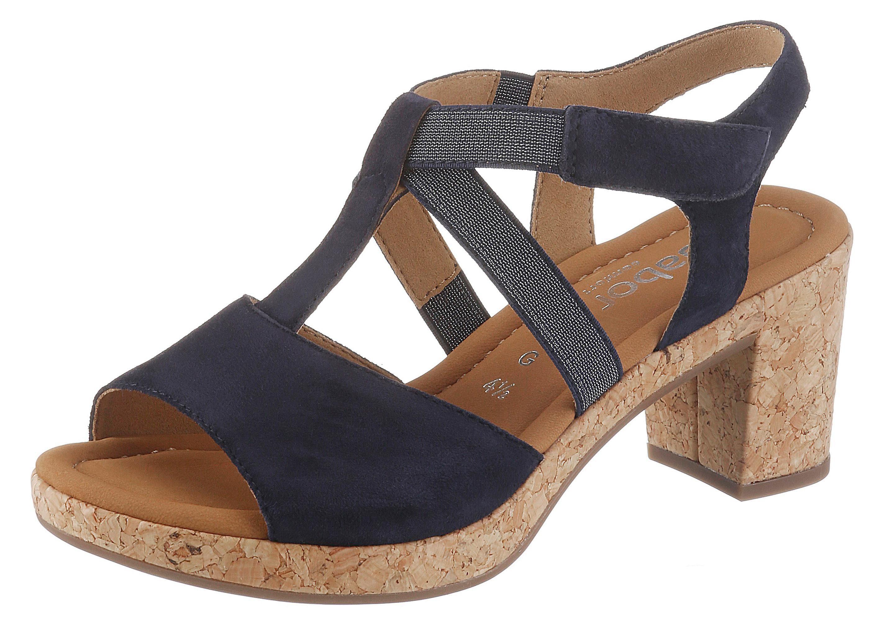 Gabor Sandalette mit Korkbezug, Obermaterial aus wertigem Ziegenveloursleder online kaufen | OTTO