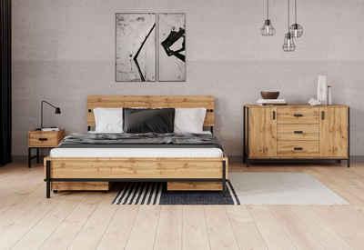 INOSIGN Bett »Aubetin«,toller Materialmix aus Holz und Metall
