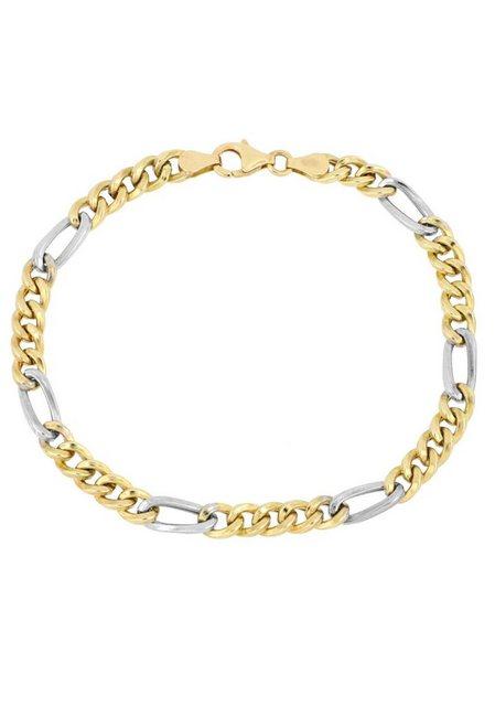 Firetti Goldarmband »in Figarokettengliederung, 5,3 mm, rhodiniert, 5:1, hochglanzpoliert, halbmassiv« | Schmuck > Armbänder > Goldarmbänder | Firetti