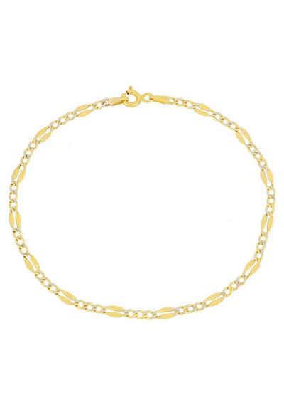 Firetti Goldarmband »in Figarokettengliederung, Panzerkettenelemente mit Diamantschnitte, 2,8 mm, glänzend«