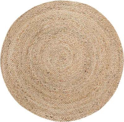 Teppich »Mamda 2«, LUXOR living, rund, Höhe 4 mm, 100% Naturfaser, handgearbeitet, Boho-Style, Wohnzimmer