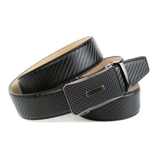 Anthoni Crown Ledergürtel Trendiger Gürtel in Karbon-Design