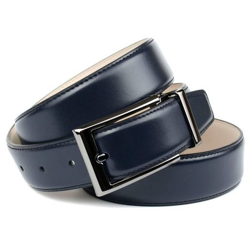 Anthoni Crown Ledergürtel Eleganter Gürtel in dunkelblau