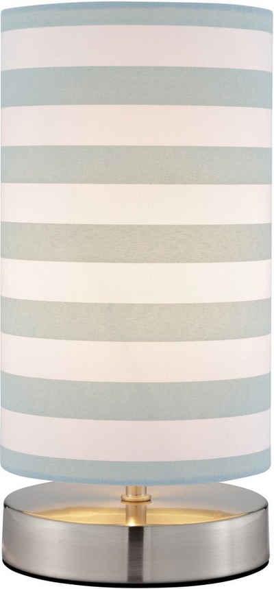 Lüttenhütt Tischleuchte »Striepe«, Tischlampe mit Streifen - Stoffschirm Ø 12 cm, blau / weiß gestreift, Touch Dimmer