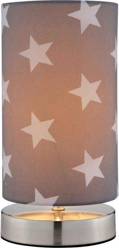 Lüttenhütt Tischleuchte »Steern«, Tischlampe mit Sterne - Stoffschirm Ø 12 cm, grau / hellgrau, Touch Dimmer