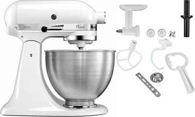 KitchenAid Küchenmaschine Classic 5K45SS EWH, 275 W, 4,3 l Schüssel, inkl. Zubehör im Wert von ca. 112,-€ UVP. Farbe: weiß