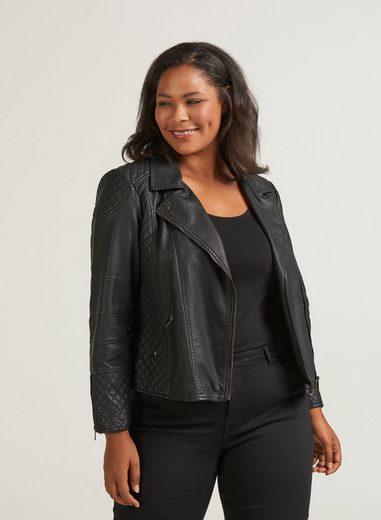 Zizzi Lederimitatjacke Damen Große Größen Kunstlederjacke mit Zip Langarm Übergangsjacke