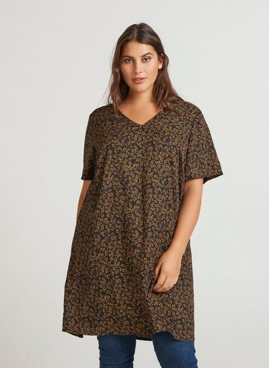 Zizzi Tunika Damen Große Größen Bluse Elegant Kurzarm Print Blusenshirt