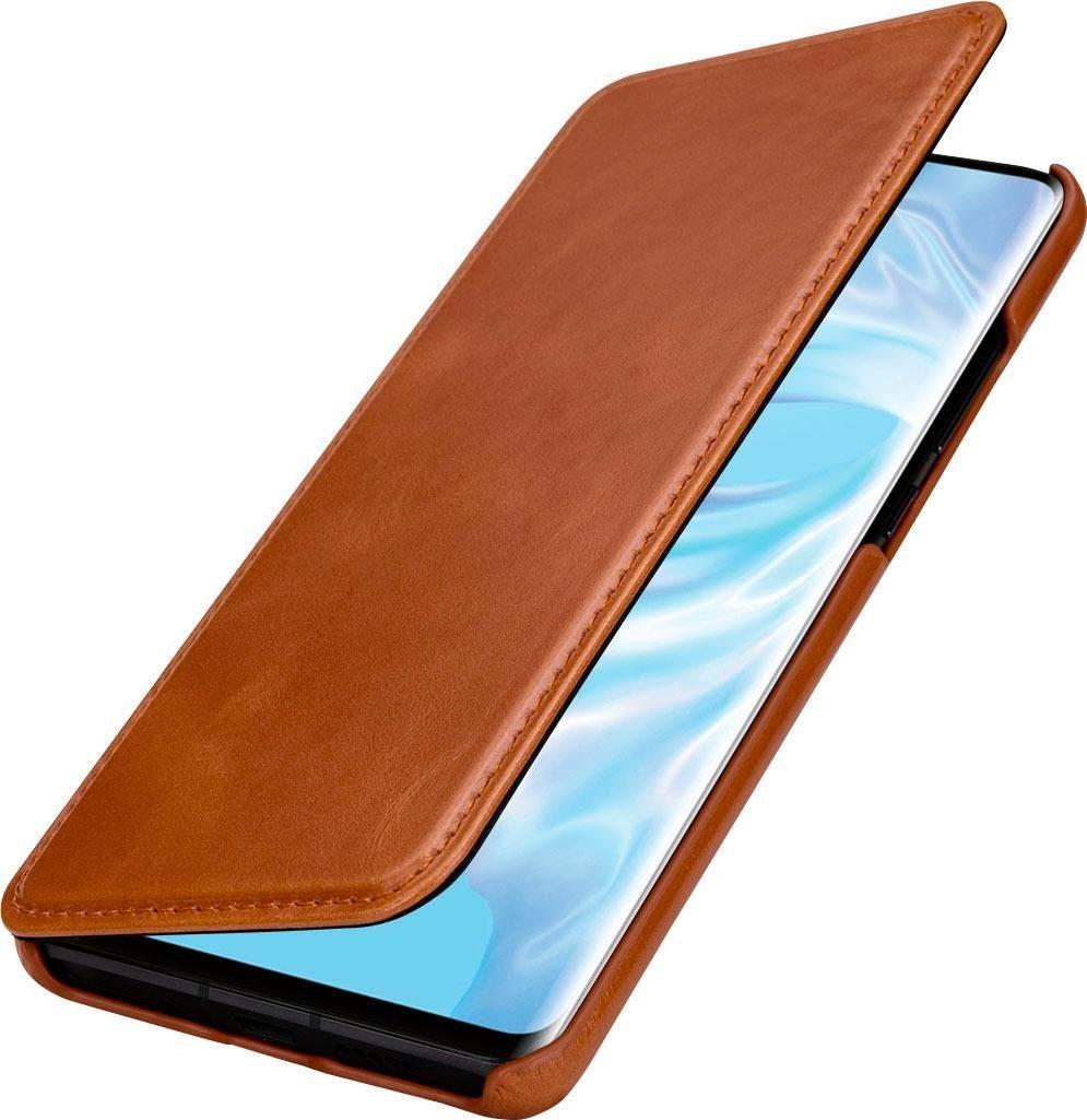 Cognac StilGut Leder-H/ülle kompatibel mit Huawei P30 Pro vertikales Flip-Case