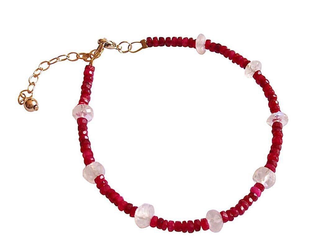 gemshine -  Perlenarmband »facettierte Rubine und Mondsteine« Made in Germany
