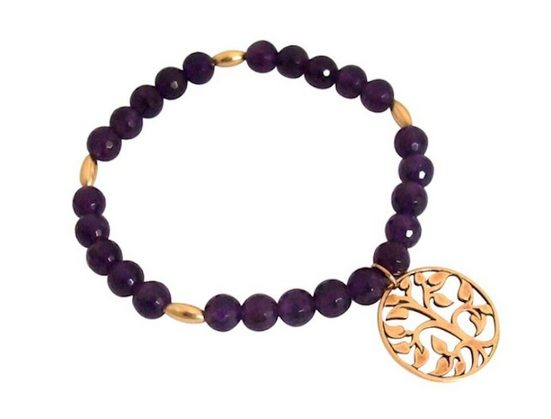 Gemshine Charm-Armband »Lebensbaum Lila Amethysten«, Made in Germany