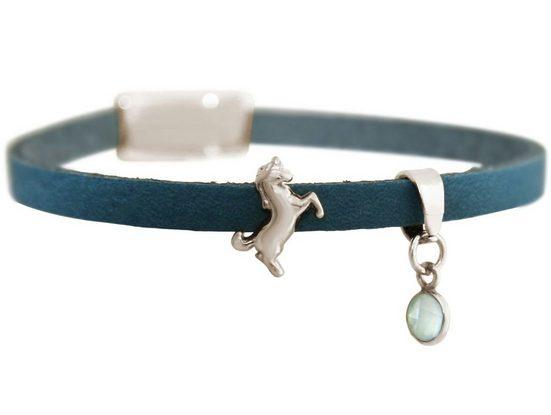 Gemshine Charm-Armband »Lederarmband mit Einhorn und seegrüner Chalcedon«, Made in Germany