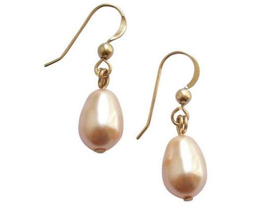 Gemshine Paar Ohrhänger »Perlen Tropfen POWDER ROSE«, Made in Germany