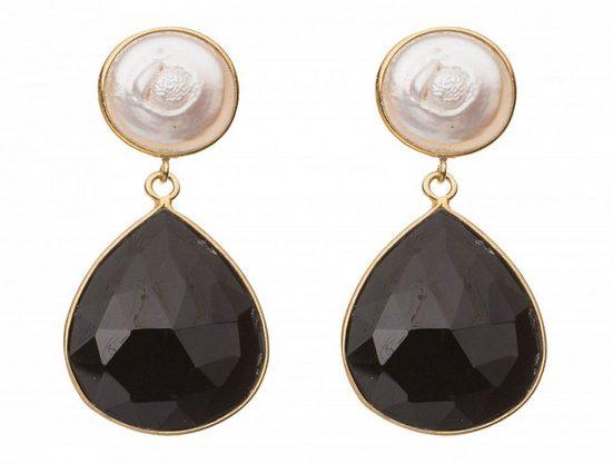 Gemshine Paar Ohrhänger »Schwarze Onyx Tropfen und Perlmutt«, Made in Spain