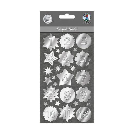 URSUS Spiegelsticker silber 81 Stück, Adventskalenderzahlen