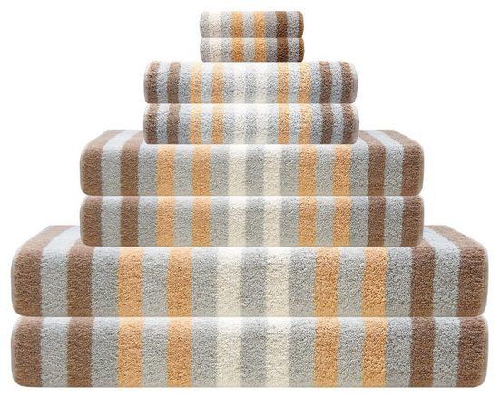 Lashuma Handtuch Set »Pure«, 8 teiliges Handtuch Sparset Gestreift, Frotteetuch Größen: 2x 15x21 cm - 2x 30x50 cm - 2x 50x100 cm - 2x 70x140 cm
