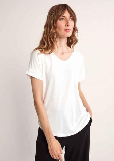 Comma Kurzarmshirt »Shirt aus softem Modalmix« (1-tlg) Waschung