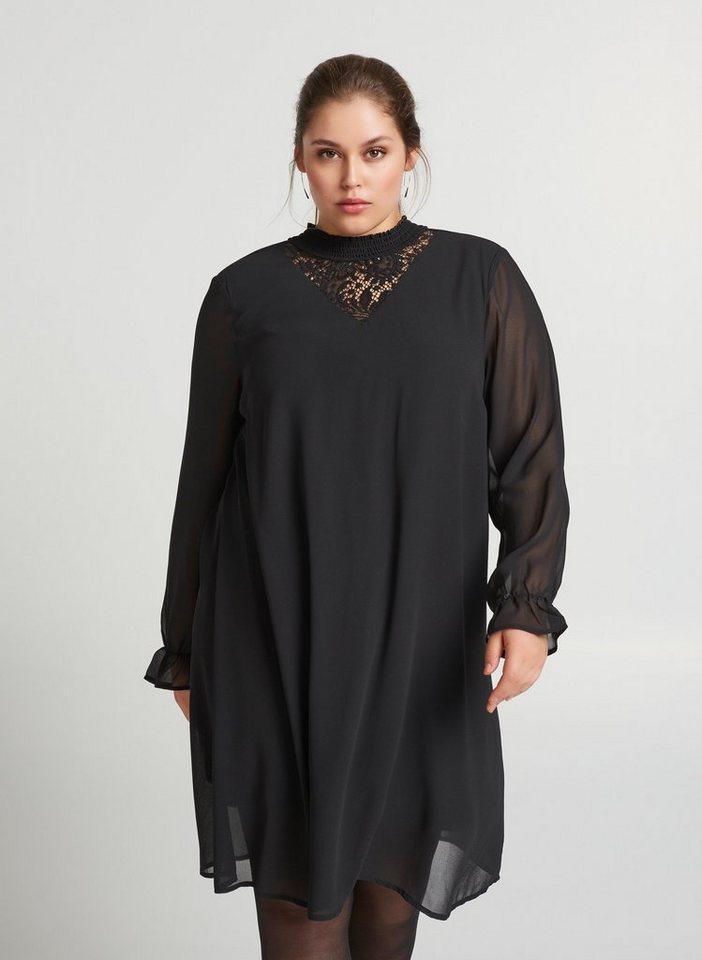 Festtagsmode - Zizzi Chiffonkleid Damen Große Größen Spitzenkleid Langarm Elegant Spitze Kleid ›  - Onlineshop OTTO