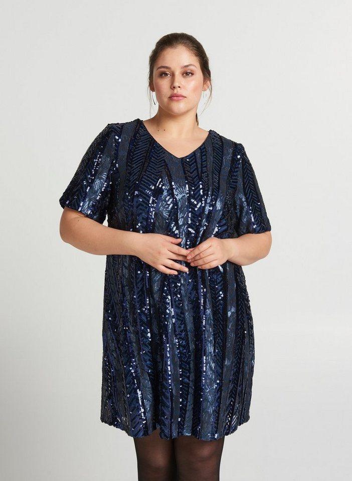 Festtagsmode - Zizzi Paillettenkleid Damen Große Größen Abendkleid 3 4 Arm Pailletten Kleid Gr 42 56 ›  - Onlineshop OTTO