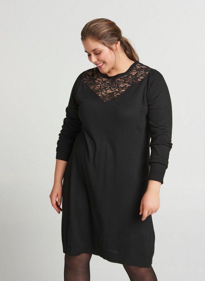 Zizzi Spitzenkleid Damen Große Größen Langarm Kleid ...