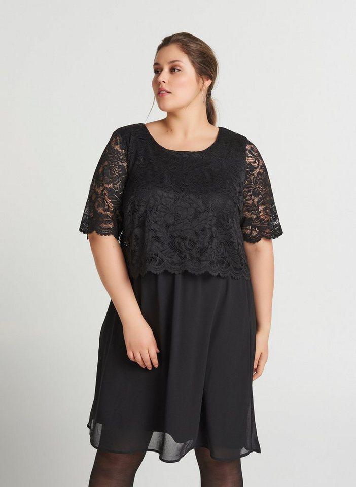 Festtagsmode - Zizzi Spitzenkleid Damen Große Größen Chiffonkleid Langarm Elegant Spitze Kleid ›  - Onlineshop OTTO