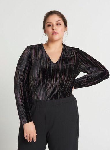 Zizzi Langarmbody Damen Große Größen Body Elegant Streifen V-Ausschnitt Damenbody
