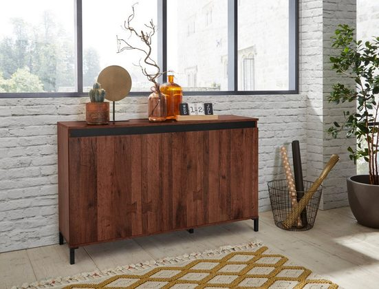 KITALY Sideboard »Genio Industrial«, Mit wendbare Blende in weiß/ anthrazit, Breite 138 cm