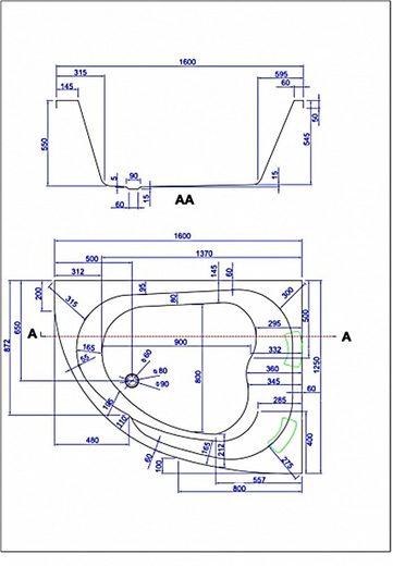 Emotion Whirlpool-Badewanne »Royal 1600 rechts Premium Whirlpool (L/B/H) 160x125x70 cm«