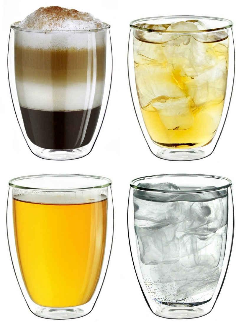 Creano Thermoglas, Borosilikatglas, hochwertig, doppelwandig mit Thermoeigenschaften, 4-teilig