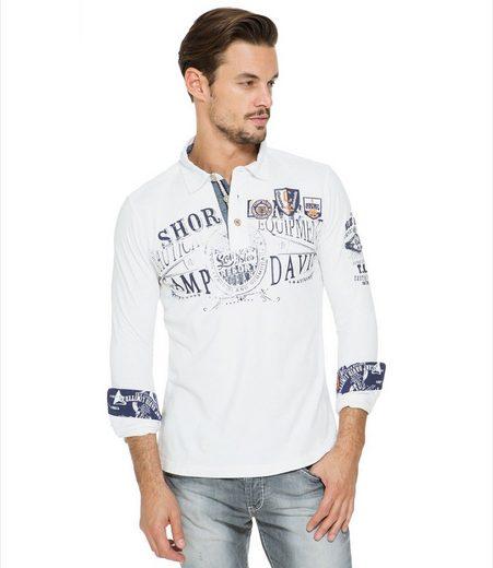 CAMP DAVID Langarm-Poloshirt mit verlängerter Rückenpartie