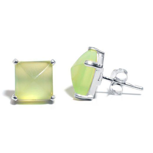 Gemshine Paar Ohrstecker »Chalcedon Grün« Manufaktur mit natürlichen Edelsteinen