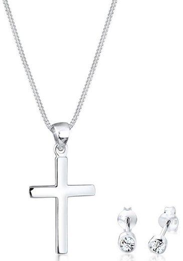 Elli Schmuckset »Kreuz, 0901522219« (Set, 4-tlg), mit Swarovski® Kristallen