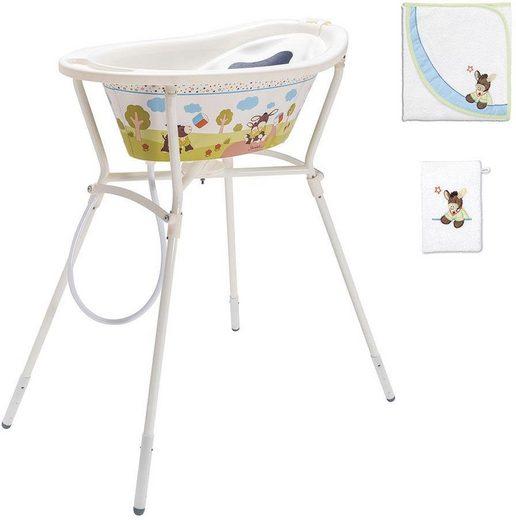 Rotho Babydesign Wannenständer StyLe, Sterntaler Emmi mit Baby Badewanne, Kapuzenhandtuch und Waschhandschuh